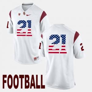 Mens White #21 Trojans Adoree' Jackson Jersey Stitch US Flag Fashion 294666-438