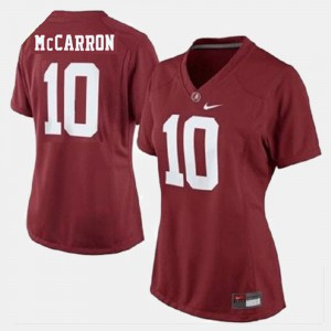 College Football Red Alabama A.J. McCarron Jersey #10 Stitch Womens 406843-278