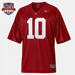 Red #10 Official Bama A.J. McCarron Jersey For Men College Football 678527-249