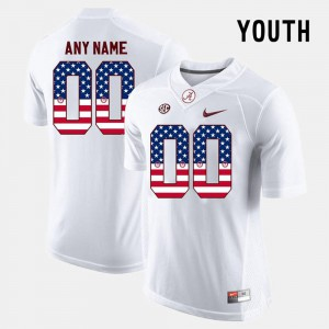 #00 White US Flag Fashion Alumni Alabama Roll Tide Custom Jersey For Kids 799841-156