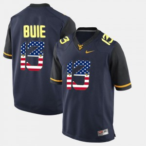 Navy Blue #13 US Flag Fashion Player For Men's West Virginia University Andrew Buie Jersey 877734-909