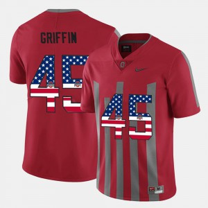 College US Flag Fashion OSU Buckeyes Archie Griffin Jersey Scarlet #45 For Men's 147582-128
