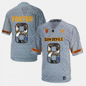 Stitched #8 Men Player Pictorial Gray Sun Devils D.J. Foster Jersey 716720-951