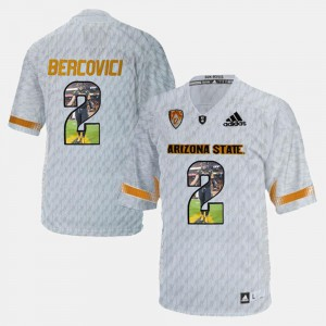 White For Men's #2 Player Pictorial ASU Mike Bercovici Jersey College 298794-242