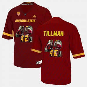 Official #42 Mens Player Pictorial Maroon Arizona State Sun Devils Pat Tillman Jersey 388540-672