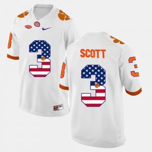 White For Men's US Flag Fashion #3 Player Clemson University Artavis Scott Jersey 737427-954