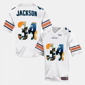 Throwback #34 Auburn Bo Jackson Jersey White For Men's High School 700542-490