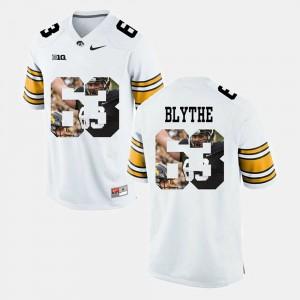 Stitched Mens Pictorial Fashion White #63 Iowa Hawkeyes Austin Blythe Jersey 324181-277