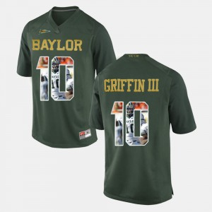 #10 Green Player Pictorial Embroidery Baylor University Robert Griffin III Jersey For Men's 953000-925