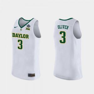 University 2019 NCAA Women's Basketball Champions #3 Baylor Trinity Oliver Jersey Women's White 438724-963