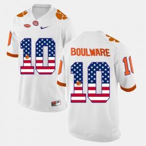 US Flag Fashion White #10 Stitched Men's Clemson National Championship Ben Boulware Jersey 693264-188