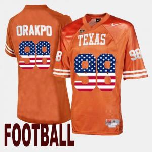 Mens US Flag Fashion #98 College Orange Texas Longhorns Brian Orakpo Jersey 598155-920
