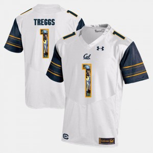Men's Cal Bears Bryce Treggs Jersey White #1 Player Pictorial NCAA 307628-894