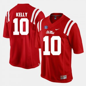 Embroidery #10 Ole Miss Chad Kelly Jersey Men's Red Alumni Football Game 569467-977
