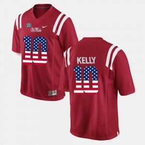 Stitch US Flag Fashion Mens Red University of Mississippi Chad Kelly Jersey #10 584772-440