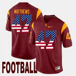 #47 Embroidery US Flag Fashion Maroon Trojans Clay Matthews Jersey For Men's 953827-961