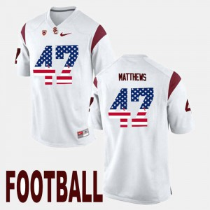 For Men #47 Stitch White USC Trojans Clay Matthews Jersey US Flag Fashion 218403-653