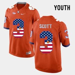 #3 Orange CFP Champs Artavis Scott Jersey Youth(Kids) US Flag Fashion Alumni 356559-674