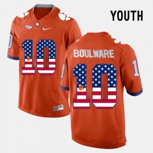 For Kids Clemson Ben Boulware Jersey Official Orange #10 US Flag Fashion 305227-652