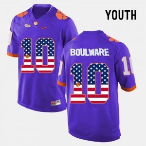 CFP Champs Ben Boulware Jersey Youth(Kids) #10 Embroidery US Flag Fashion Purple 477820-895