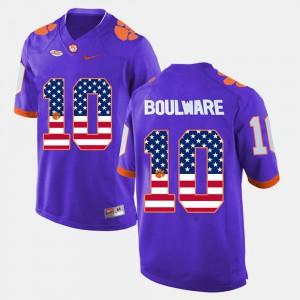 Clemson Tigers Ben Boulware Jersey #10 US Flag Fashion Purple Mens High School 838742-908