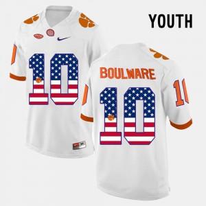 Youth(Kids) #10 Clemson Ben Boulware Jersey US Flag Fashion White NCAA 199883-695