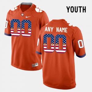 Stitched US Flag Fashion Youth Orange Clemson Customized Jerseys #00 381161-342