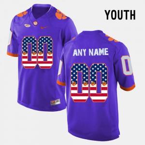 Clemson Tigers Customized Jersey Kids Stitched Purple US Flag Fashion #00 683540-713