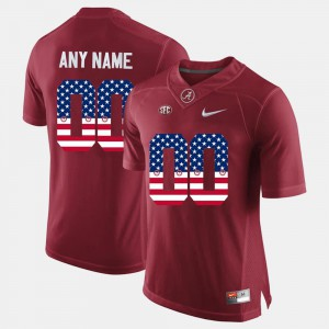For Men College #00 University of Alabama Customized Jerseys Crimson US Flag Fashion 258826-687
