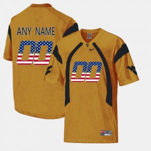 US Flag Fashion West Virginia Customized Jersey #00 Gold For Men Player 326268-616