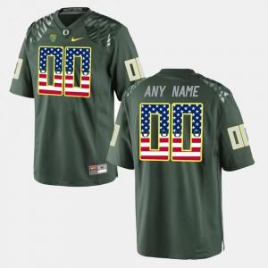 University #00 Oregon Ducks Customized Jersey Green US Flag Fashion For Men's 742263-335