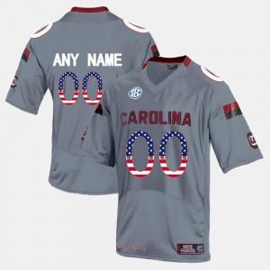 Alumni US Flag Fashion Gamecocks Custom Jerseys Grey #00 Men 460638-475