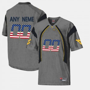 Mountaineers Custom Jersey US Flag Fashion Men's University Grey #00 174237-880