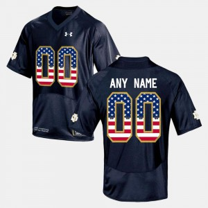 For Men #00 Embroidery Navy Blue ND Custom Jerseys US Flag Fashion 778068-523