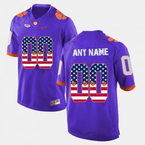 Purple Clemson Custom Jerseys Stitched For Men's US Flag Fashion #00 707124-965