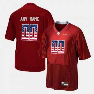 US Flag Fashion For Men Red Alabama Crimson Tide Customized Jersey #00 Embroidery 518553-864
