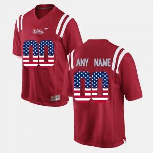 Mens #00 Red NCAA US Flag Fashion Ole Miss Custom Jerseys 238838-912
