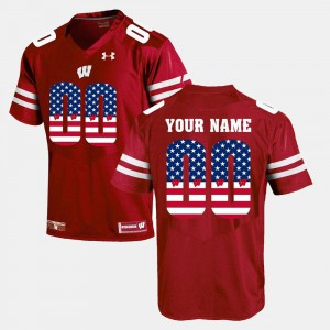 Red #00 US Flag Fashion Badger Custom Jersey Men Alumni 583993-401