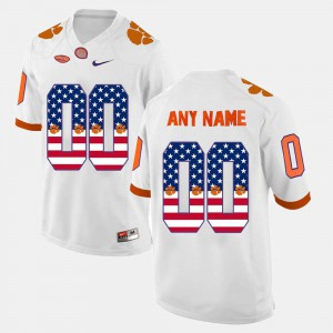 #00 White Clemson Custom Jersey For Men's US Flag Fashion Stitched 453482-453
