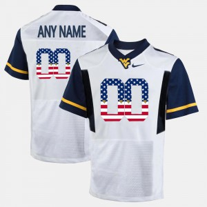 West Virginia Customized Jersey White US Flag Fashion Player For Men's #00 707248-666