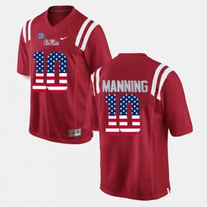 Alumni Red #10 Men US Flag Fashion University of Mississippi Eli Manning Jersey 189973-314