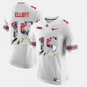 OSU Buckeyes Ezekiel Elliott Jersey Official Pictorial Fashion White #15 Men 818357-381