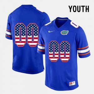 US Flag Fashion Alumni Youth(Kids) Blue Florida Gators Custom Jersey #00 923781-427
