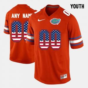 US Flag Fashion Orange Embroidery #00 Kids UF Customized Jerseys 231721-732