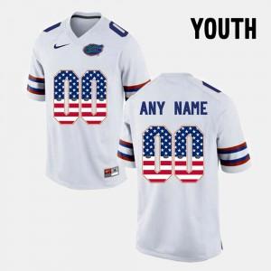 White Stitched Youth Florida Gators Custom Jersey #00 US Flag Fashion 572671-490