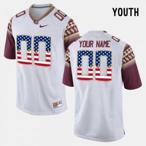 White FSU Customized Jersey Kids University #00 US Flag Fashion 238399-404