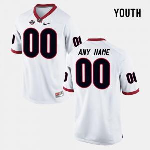 #00 White Georgia Custom Jerseys Youth College Limited Football High School 525084-210