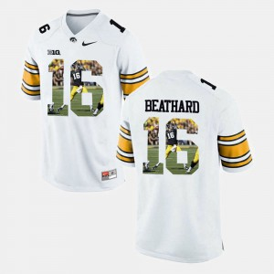 Player Pictorial #16 University of Iowa C.J. Beathard Jersey White Mens Stitched 951726-714