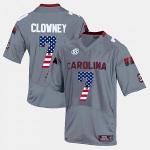 University of South Carolina Jadeveon Clowney Jersey Mens Stitch Gray #7 US Flag Fashion 628735-669