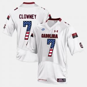 High School #7 Men US Flag Fashion White Gamecock Jadeveon Clowney Jersey 846271-497